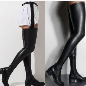 Super high thigh low heel boots